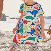 Cute Dinosaur Striped Girls Casual Dress For 1-9Years