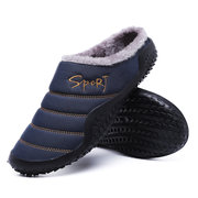 Men Large Size Waterproof Plush Lining Non-slip Soft Sole Casual Slippers