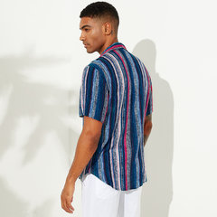 Mens Ethnic Striped Printed Chest Pocket Turn Down Collar Short Sleeve Casual Loose Shirts