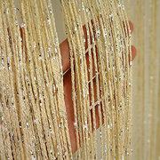 1 * 2M cortina de la cadena de puerta Rare Flat Silver hilo de rosca Fringe Window Panel Divider Room
