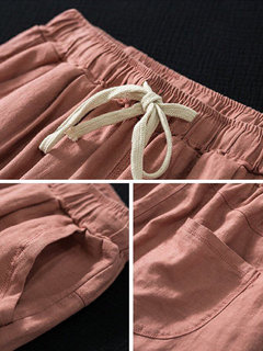 Drawstring Casual Solid Color Pants For Women