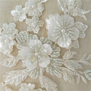 Wedding Dress Lace Fabric 3D Flowers Pearl Beaded Lace Applique DIY Craft