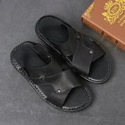 Men Genuine Leather Non Slip Adjustabler Heel Strap Casual Sadnals