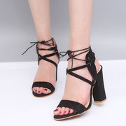 Large Size Block Sexy Lace Up Sandals