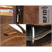 RFID Antimagnetic Retro Genuine Leather Removable Zipper Pocket Trifold Wallet For Men