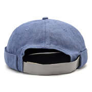 Mens Cotton Adjustable Solid French Bucket Cap Retro Vogue Crimping Brimless Hats