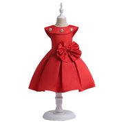 O concurso da criança veste o vestido de casamento grande da dama de honra do arco para as meninas 3Y-15Y