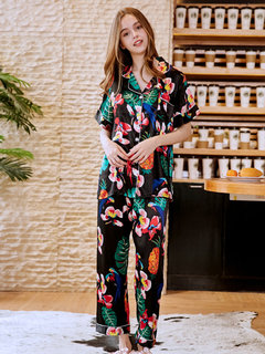 Home Pajamas Silk Floral Button short Sleeves Sleepwear Suits