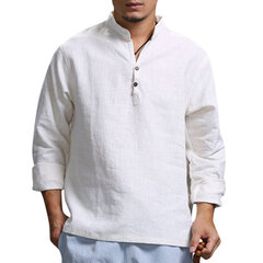 Mens Solid Color Vintage Chinese Style Stand Collar Loose Casual Buttons T Shirts