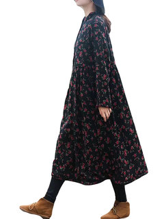 Button Floral Print Long Sleeve Vintage Dress