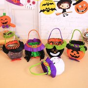 Halloween Children's Candy Tote Bag Witch Pumpkin Drawstring Party Dress Up Props