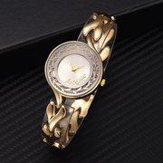 Relógio de pulseira de cadeia de estilo chinês Relógio de quartzo de relógio de ouro de aço inoxidável Relógio de cintura de strass