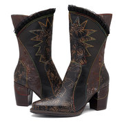 SOCOFY Sooo Comfy Elegance Lace Cow in pelle cuciture fiore a mano Modello Stitching Zipper Boots