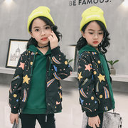 Star Printed Infant Toddler Boy Girl Jacket Black Kids Coat for Spring Autumn 2-9Y