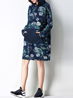 Casual Floral Print Patchwork Hooded Long Sleeve Women Dress