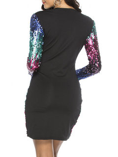 Multi-color Sequins Long Sleeve V-neck Women Party Dress