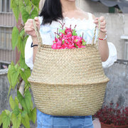 Seagrass Belly Basket Storage Laundry Home Panier Boule Natural Sea Grass