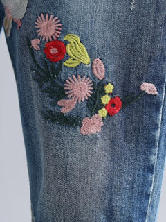 Ripped Embroidered Drawstring Vintage Denim For Women