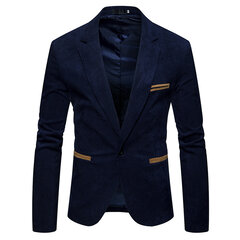 Business Delgado Suit vendimia Corduroy Stitching Color de manga larga traje casual para hombres