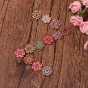 100Pcs Bohemian Wooden Buttons Flower Shaped Colorful Retro Sewing Buttons 20/25mm 2 Holes Buttons