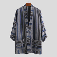 Mens Ethnic Style Vintage Striped Printed Long Sleeve Loose Fit Open Up Casual Shirt