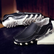 Men Stitching Soft Leather Portable Slip On Casual Driving Loafers
