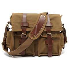 Uomini Vintage Canvas Crossbody Borsa Military Large Shoulder Borsa