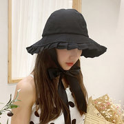 Hat Female Day Solid Color Lace Fisherman Hat Literary Retro Basin Hat Student Sun Protection Sun Hat Tide