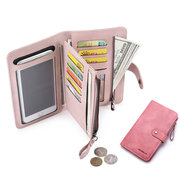 Women Faux Leather Touch Screen Phone Purse 8 Card Slot Multi-function Wallet
