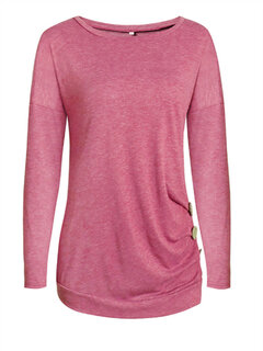 Casual Brief Solid Color Button Decorated O-Neck Long Sleeve Blouses