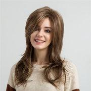 Perucas longas do cabelo da onda da cor da mistura para a senhora perucas sintéticas encaracoladas longas do cabelo de 22 polegadas da batida