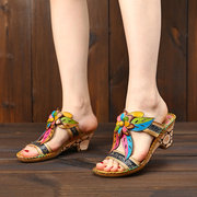 SOCOFY Retro Handmade Genuine Leather Splicing Hollow Floral Soft Casual Hook Loop Sandals