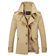 5XL Plus Size Outdoor Casual Mid Long Washed Cotton Trench Coat Jacket for Men