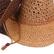 Men's Weave Solid Classic Cowboy Hat Outdoor Leisure Breathable Windproof Adjustable Straw Hat