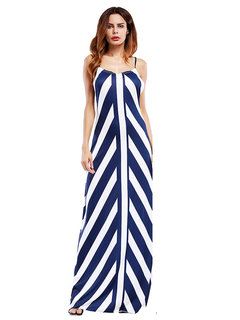 Sexy Stripe Backless Cross Strap V-neck Femme Maxi Robes