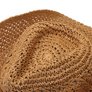 Womens Mens Summer Foldable Sunscreen Curly Round Straw Bucket Cap Fisherman Hat Vacation Beach Hat