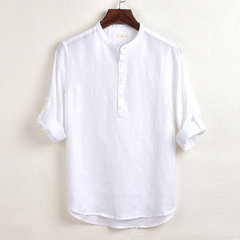 Mens Brief Pure Color Three Quarter Sleeve Loose Buttons Casual Henley Shirts