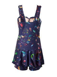 Plus Size Women Colorful Printed One Piece Swimwear Push Up Dress Swimsuit