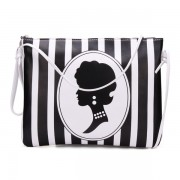 Women Vertical Stripes Beauty Pattern Leather Clutches Bag