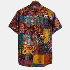 Мужская этническая печать с цветными блоками с коротким рукавом Свободные повседневные рубашки Henley