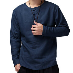 Mens Vintage 100% Cotton Button Collar Design Solid Color Long Sleeve Loose T Shirts