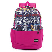 Women Preppy Style Canvas Skull Heads Printing Backpack