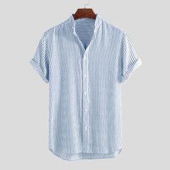 رجل Classic مخطط تنفس موقف ذوي الياقات البيضاء قصيرة الأكمام قمصان فضفاضة عارضة