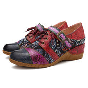 SOCOFY Bohemia Genuine Leather Splicing Jacquard Hand Painted Buckle Lace Up Hook Loop Pumps