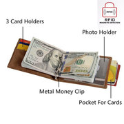 RFID Antimagnetic Genuine Leather 3 Card Holders 3 Colors Portable Wallet Purse