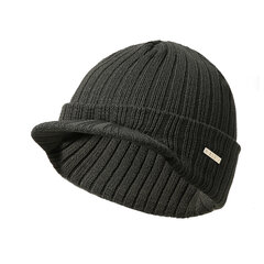 Men's Flexible Acrylic Material Solid Warm Small Brim Breathable Adjustable Beanie Hat