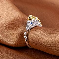Carino Zodiaco cinese alla moda Anelli d'oro Animali Diamanti di cerimonia nuziale Anelli d'argento Regalo per ragazze Donne