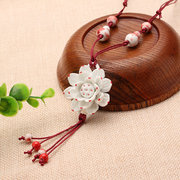 Women's Ethnic Necklace Lotus Flower Ceramic Retro Necklace