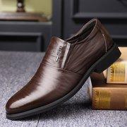 Deslizamento antiderrapante de couro de cor pura para homens em sapatos casuais formais