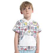 Menino algodão cartoon impresso t-shirt com capuz para 2-9a